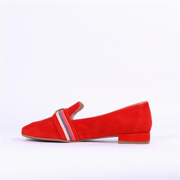 Marian Buckle Detail Suede Loafer Dora - Red Suede
